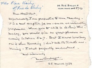 Letter from Nadia Boulanger, March 26, 1954