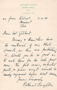 Letter from composer Rutland Boughton , March 4, 1938