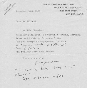 Letter from Vaughn Williams November 30, 1957